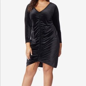 Velvet ruched front dress